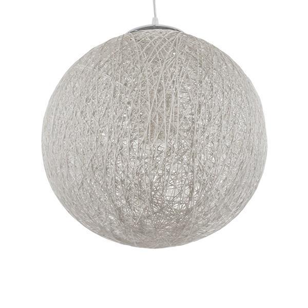 Siso 01359 Ρουστίκ Σφαιρικό Κρεμαστό Φωτιστικό Ρατάν Λευκό Φ40