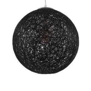 Calle 01360 Μαύρο Στρόγγυλο Ρατάν Κρεμαστό Φωτιστικό Rustic Φ40