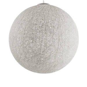 KETTLE 01363 Vintage Κρεμαστό Φωτιστικό Ξύλινο Ψάθινο Ραταν Λευκό Ø60