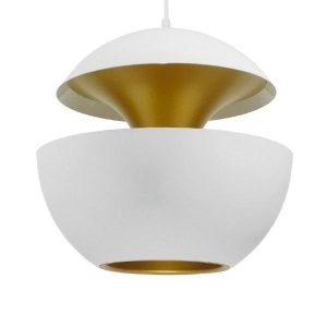 SEVILLE WHITE 01268 Μοντέρνο Άσπρο με Χρυσό Κρεμαστό Φωτιστικό, Αφηρημένο Ø35