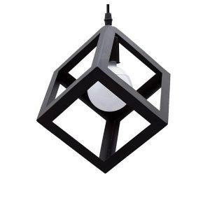 CUBE 01015 Industrial Μαύρο Κρεμαστό Φωτιστικό Κύβος με Πλέγμα Ø25