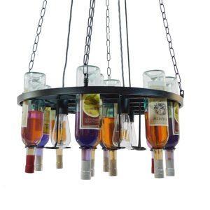 Barista 01139 Industrial Κρεμαστό Πολύφωτο 4φώτα με Γυάλινα Μπουκάλια