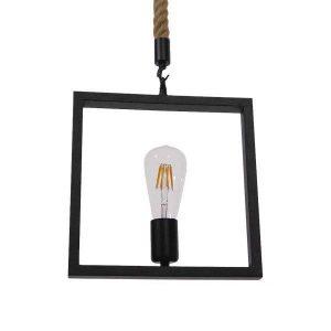 FRAISE 01077 Industrial Μαύρο Κρεμαστό Φωτιστικό Τετράγωνο με Σχοινί Τριχιά