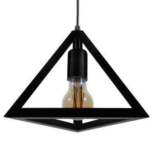 TRIANGLE 01063 Industrial Μαύρο Κρεμαστό Φωτιστικό Τρίγωνο με Πλέγμα Ø25