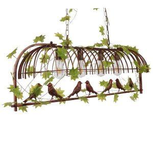Nidus 01402 Industrial Χάλκινο Κρεμαστό Φωτιστικό με Πουλιά & Φύλλα