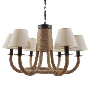 Cementine 01020 Vintage 6-Light Beige Chandelier Pendant Light + Shade Bell