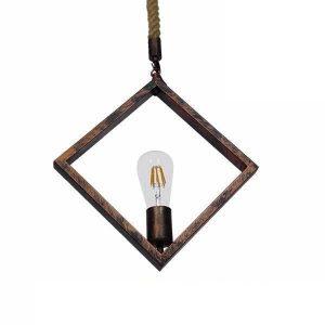 ALCO 01023 Vintage Χάλκινο Κρεμαστό Φωτιστικό Ρόμβος με Σχοινί Τριχιά