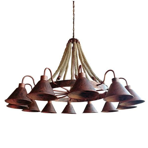 Everson 01192 Πολυέλαιος Vintage Χάλκινος 12-φώτα με Σχοινί Τριχιά