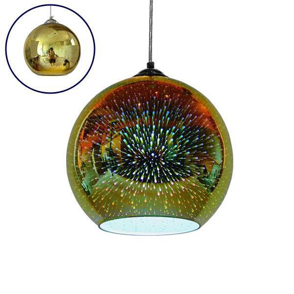 SATURN 01351 Μοντέρνο 3D Γυάλινο Νίκελ Φωτιστικό Κρεμαστό Σφαιρικό Ø25