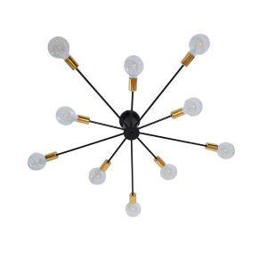 Olinda 01244 Industrial Φωτιστικό Οροφής Πολύφωτο Μαύρο Μεταλλικό Φ95