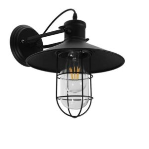 CELL 01118 Industiral Φωτιστικό Τοίχου Απλίκα Μαύρη με Καπέλο & Μεταλλικό Πλέγμα Φ27
