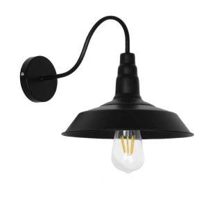 Sord Black 01065 Industrial Μαύρο Φωτιστικό Τοίχου Απλίκα Καμπάνα Φ26