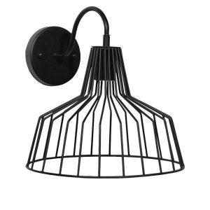 TRIUMPH 01117 Industrial Μαύρο Φωτιστικό Τοίχου Απλίκα με Πλέγμα Καμπάνα Φ30