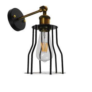 CATEL 01054 Industrial Μαύρο Φωτιστικό Τοίχου Απλίκα με Πλαίσιο Φ15