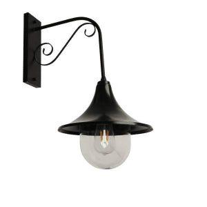 ANNIEL BLACK 01123 Industrial Φωτιστικό Τοίχου Μαύρο Μονόφωτο Καμπάνα Φ28