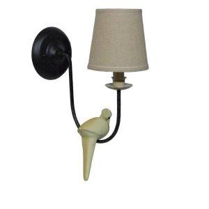 DOVE 01084 Μοντέρνα Μαύρη Απλίκα Τοίχου με Υφασμάτινο Καπέλο Φ16