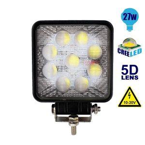 Προβολέας LED Εργασίας Τετράγωνος 5D 27Watt, 10-30V, 30°, Ψυχρό