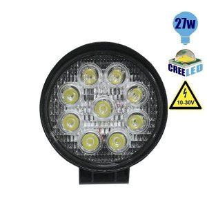 Προβολέας LED Εργασίας Στρογγυλός 27Watt, 10-30V, 30°, Ψυχρό