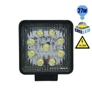 Προβολέας LED Εργασίας Τετράγωνος 27Watt, 10-30V, 30°, Ψυχρό