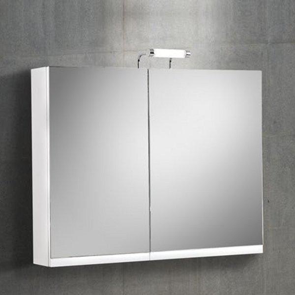 Flobali 60-90 Άσπρος MDF Καθρέπτης Μπάνιου με Ντουλάπια 2Π