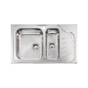 Sanitec Eureka 11754 Νεροχύτης Κουζίνας Ανοξείδωτος 1,5Γ+1Μ 86χ51