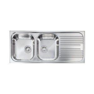 Sanitec Atlantic Νεροχύτες Κουζίνας Ανοξείδωτοι 2Γούρνες 1Μαξιλάρι 116χ50