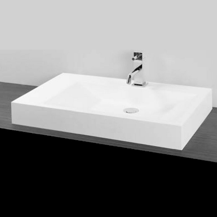 S6 Solid Surface Rectangular White Mat Corian Countertop Wash Basin 70x42 Flobali