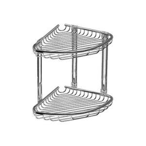 963777 Γωνιακή Διπλή Σπογγοθήκη Μπάνιου Ανοξείδωτο Ατσάλι 21x21x29 cm