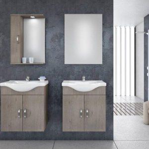 Drop ALBA 65 Brown Κρεμαστό Έπιπλο μπάνιου με Νιπτήρα 65*46 cm