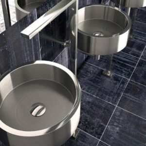 De Coste brushed inox round counter top basin