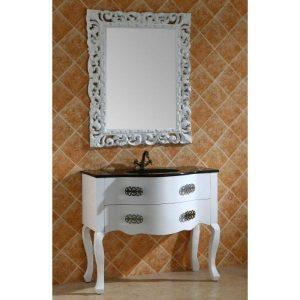 Έπιπλο μπάνιου Retro σε Λευκό Χρώμα με Καθρέπτη και Μαύρο Νιπτήρα