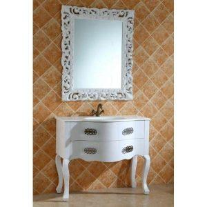 Έπιπλο μπάνιου Retro σε Λευκό Χρώμα με Καθρέπτη και Νιπτήρα
