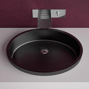 Glass Design Ellisse Small FL Italian Modern Semi Recessed Wash Basin 43x32 cm