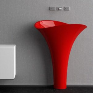 Red Freestanding Washbasin FLOWER Evolution