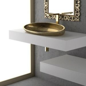 Glass Design Kool XL FL Italian Modern Semi Recessed Wash Basin 64x39 cm