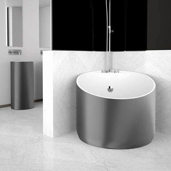 Glass Design MINI Round Corner Modern Freestanding Bathtub 114x95 cm