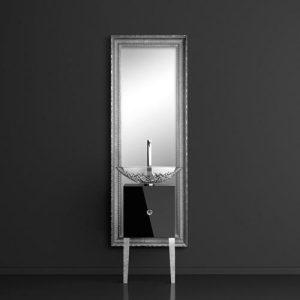 Monnalisa Class Έπιπλο Μπάνιου με Καθρέπτη & Νιπτήρα Ice Oval