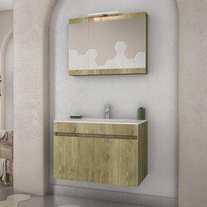 Drop Magnolia Gold & Smoked 75 Κρεμαστό Έπιπλο μπάνιου με Νιπτήρα 75*47 cm