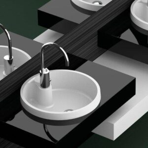 Glass Design Naxos FL Italian Modern Semi Recessed Wash Basin Ø48