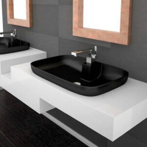 Glass Design Volacano FL Modern Italian Luxury Semi Recessed Basin 66x44 cm