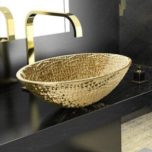 Ice Oval Lux Gold countertop basin