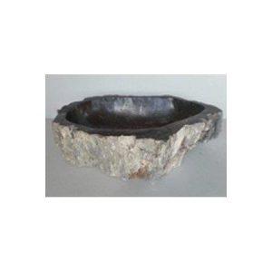 Πέτρινος Νιπτήρας με Απολιθωμένο Ξύλο Nero