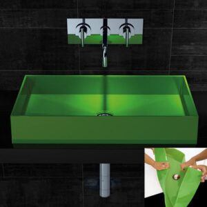 Barchetta green rectangular countertop wash basin:]