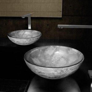 Luna 44 Grey round countertop wash basins